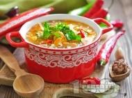 Богата пикантна пилешка супа с картофи, моркови, чушки, фиде и топла запържена застройка